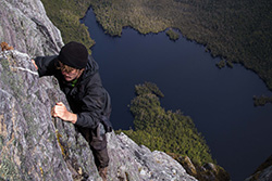 The Direct Ascent Route / Lake Geeves below (photo Jason Macqueen )